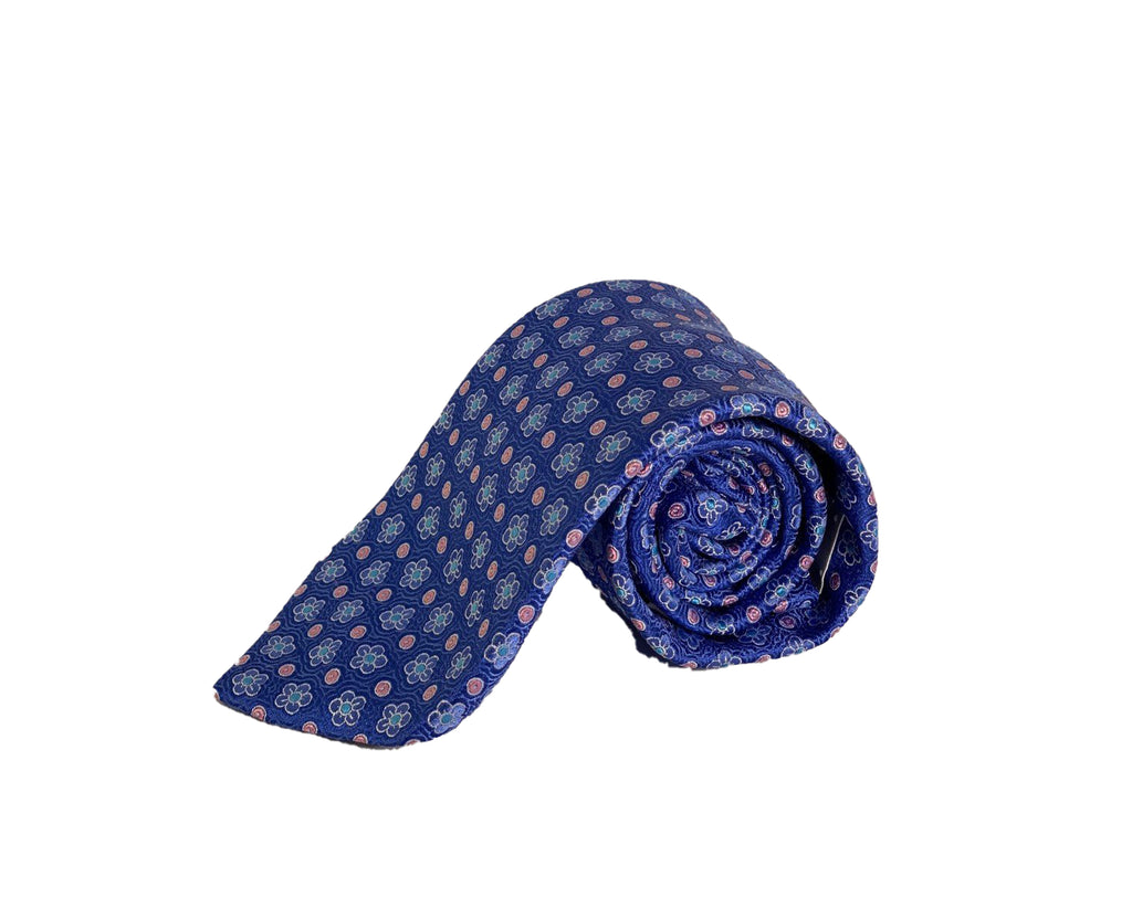 Dion Men's 100% Silk Neck Tie - Floral - Blue/Pink Flowers - BNWT