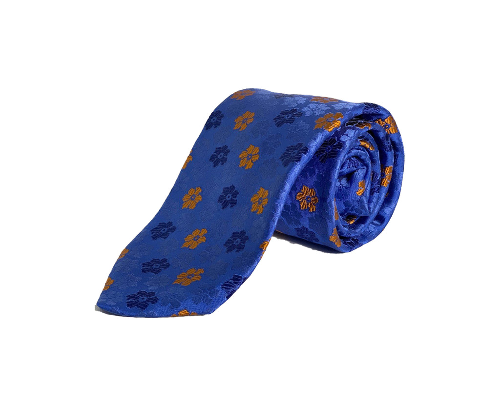 Dion Men's 100% Silk Neck Tie - Floral Blue/Orange - BNWT