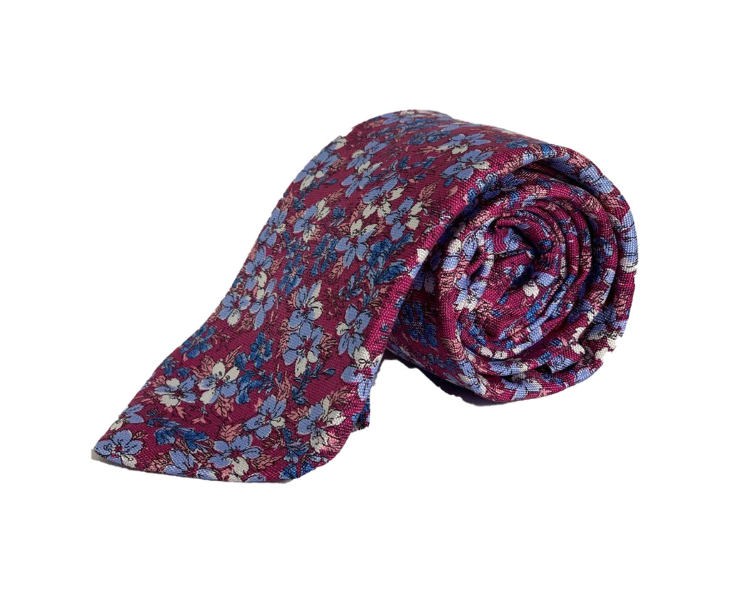 Dion Men's 100% Silk Neck Tie - Floral Pink,Blue - BNWT
