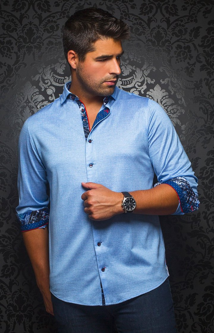 Au Noir Men's Casual Shirt BNWT Vega Light Blue Size 8 / 4XL BNWT