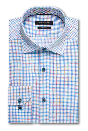Bugatchi Woven Classic Fit Cotton Mens Dress Shirt Turquoise BNWT