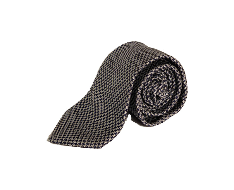 Dion Men's 100% Silk Neck Tie - Patterened - Silver/Blue - BNWT