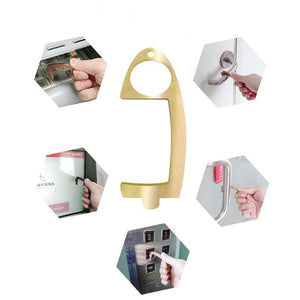 Brass Hand Free Non Contact Untouchable Stylus Key Chain Door Opener