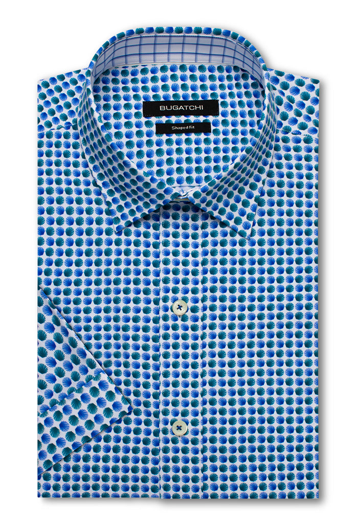 Bugatchi Woven Shaped Fit Performance Mens Dress Shirt Chalk BNWT