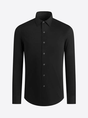 SOLID LONG SLEEVE OOOHCOTTON PERFORMANCE KNIT SHIRT - Black