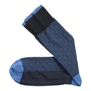 Johnston & Murphy Socks - Circle Grid Socks Blue