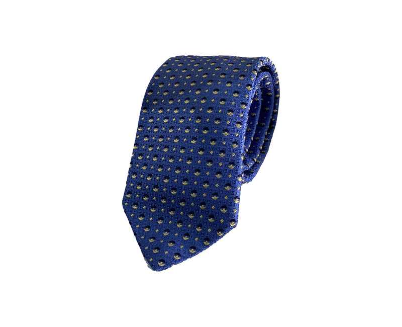 Dion Men's 100% Silk Neck Tie - Blue Gold  - BNWT