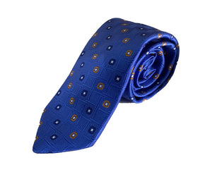Dion Men's 100% Silk Neck Tie - Blue, Orange Diamonds - BNWT