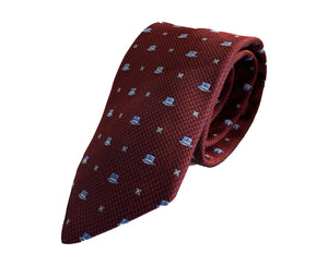 Dion Men's 100% Silk Neck Tie - Burgundy, Blue  - BNWT