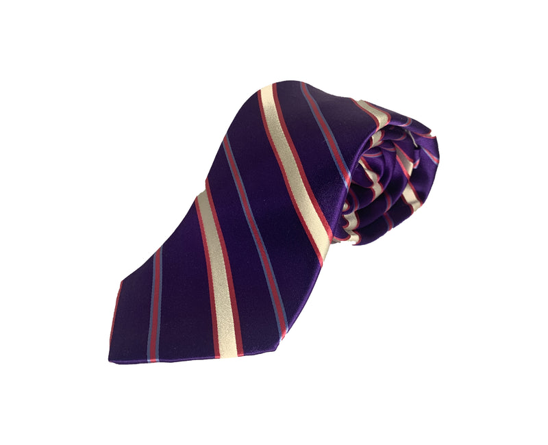 Dion Men's 100% Silk Neck Tie - Purple, White Stripes - BNWT