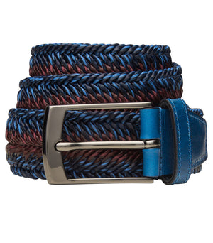 Bugatchi Men's Leather Braided Belt - Blue