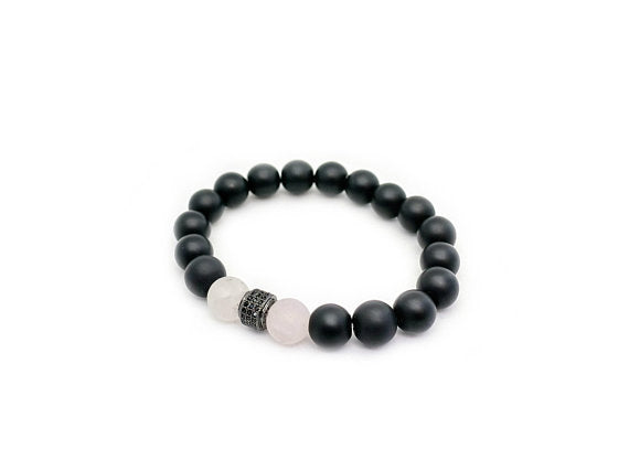 Lia Lubiana - Men's Bracelet - Onyx and Rose Quartz