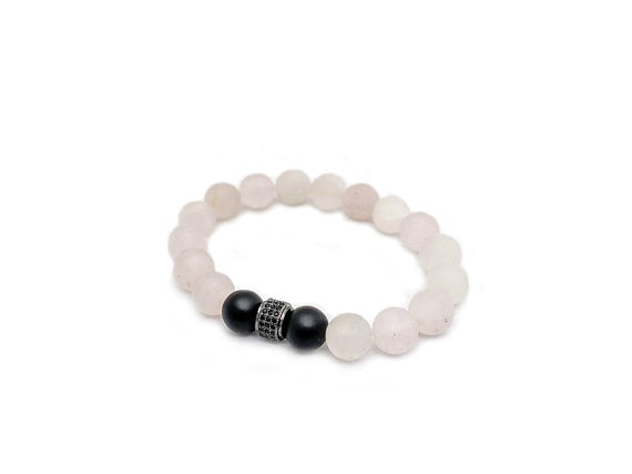 Lia Lubiana - Men's Bracelet - Rose Quartz and Onyx