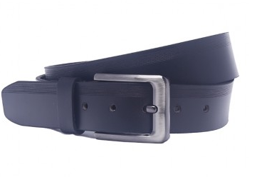 OHM Leather New York Casual Belt with Line- Black