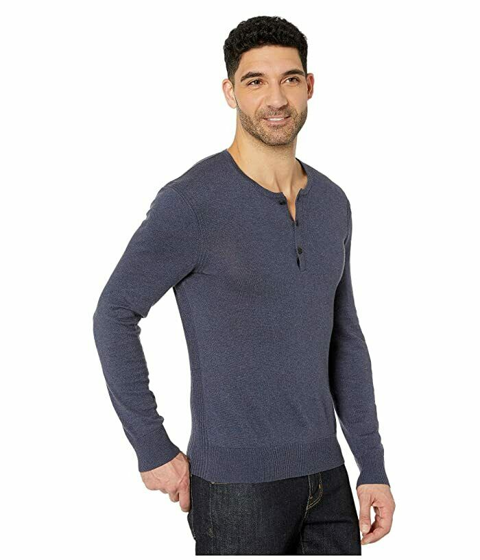 John Varvatos Star U.S.A. Provo Long Sleeve Cotton Yak Henley with Rib Back Pane