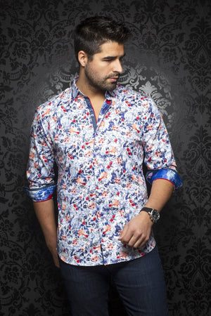 Au Noir - Casual Shirt - Inova Floral - Red Navy