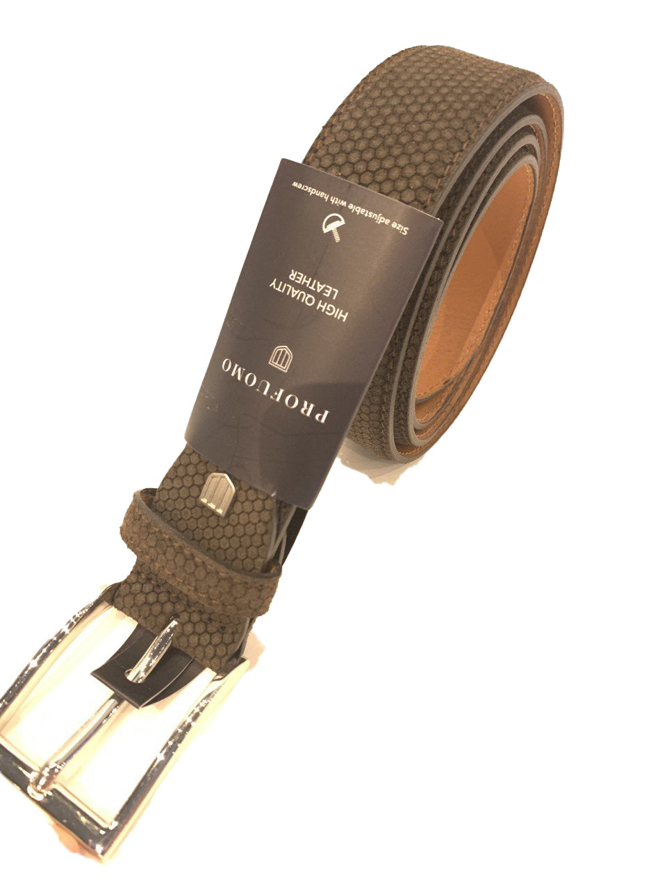 Profuomo Suede Belt Stunning Brown Mens Belt - 56384