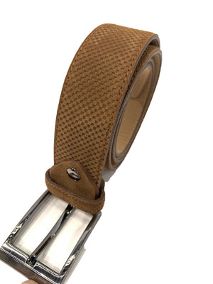 Differ Men's Leather Belt- Embossed Mens Belt - Brown