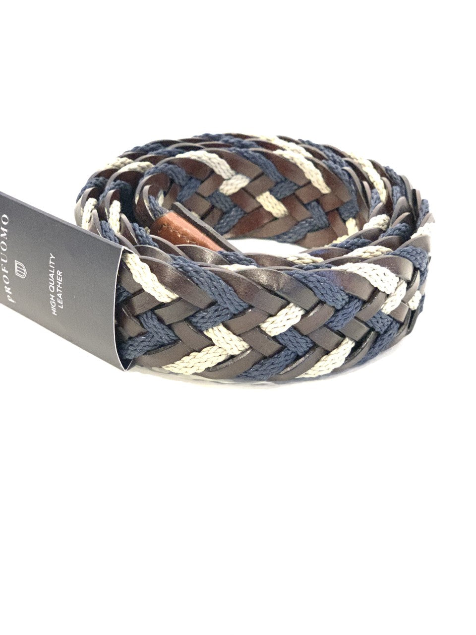 Profuomo - Leather/Cotton Braided Belt - Brown & Blue