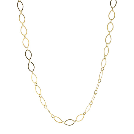 Hammered Oval Chain Necklace- 16""
