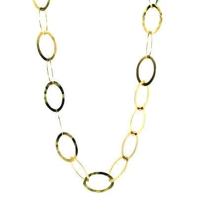 Hammered Oval Chain Necklace 34""