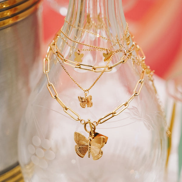 Paperclip Necklace with Butterfly Toggle