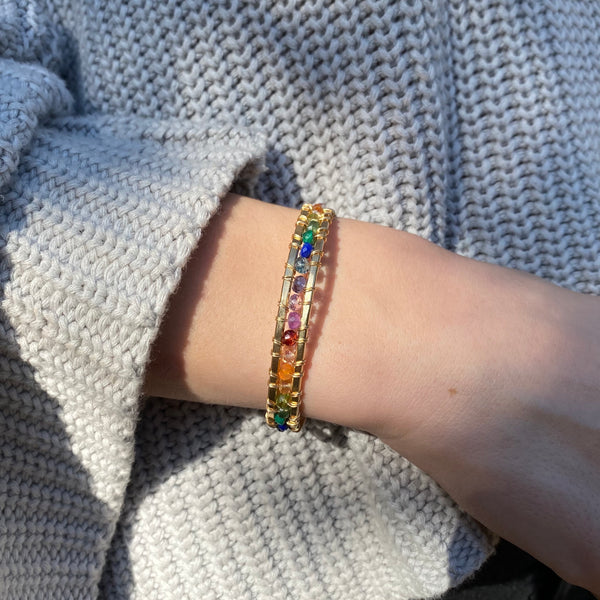 Rainbow Rondelle Dominique Cuff
