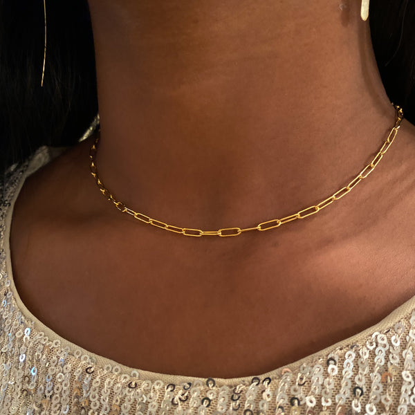 Small Paperclip Necklace in 14K Gold-filled