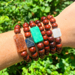 Large Bead Redwood Bracelet