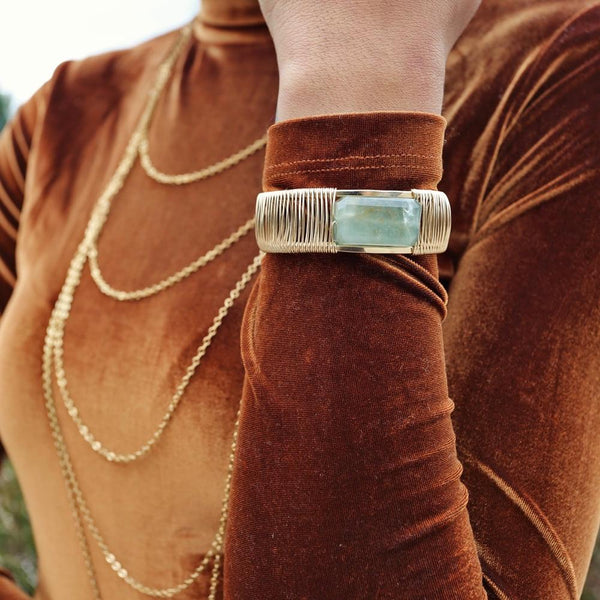 Rock Star 1-Stone Horizontal Wrapped Cuff