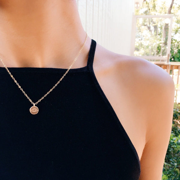 Lotus Charm Necklace- QUICK SHIP