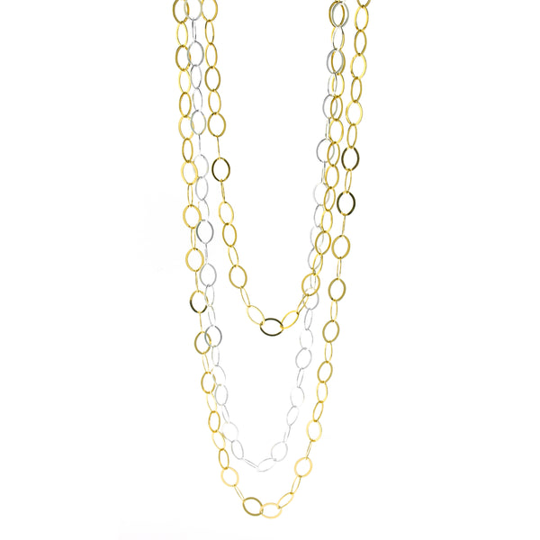 3-Strand Oval Chain Necklace