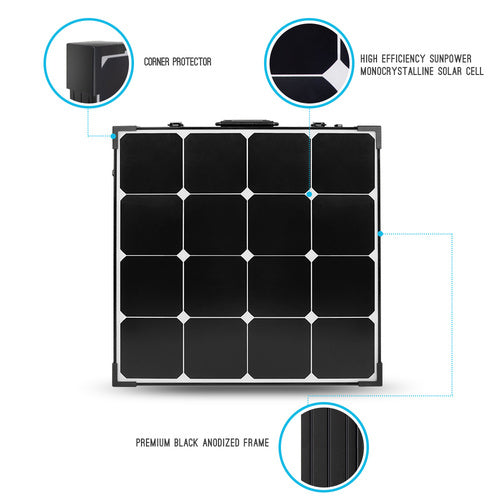 Renogy 100 Watt Eclipse Monocrystalline Solar Suitcase - Plug and Play Solar
