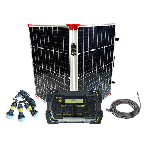 Lion Energy 500 Solar Generator Kit + One 100 Watt Foldable Solar Suitcase Panel - Plug and Play Solar