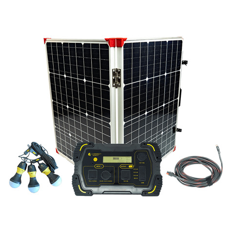 Lion Energy 500 Solar Generator Kit + One 100 Watt Foldable Solar Suitcase Panel