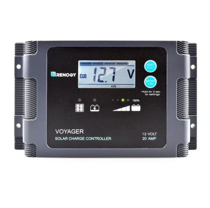Voyager - 20A PWM Waterproof Charge Controller w/ LCD Display and LED Bar - Plug and Play Solar
