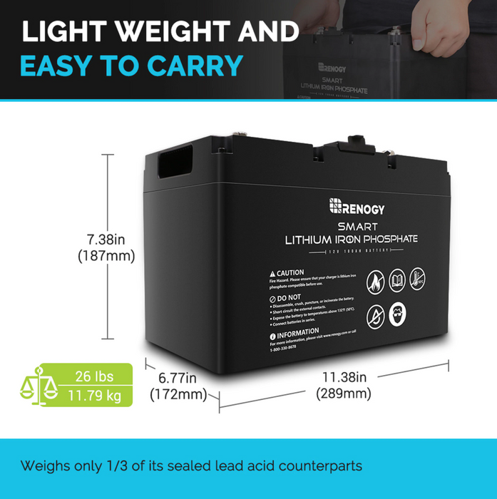 12V 100Ah Smart Lithium Iron Phosphate Battery - Plug and Play Solar