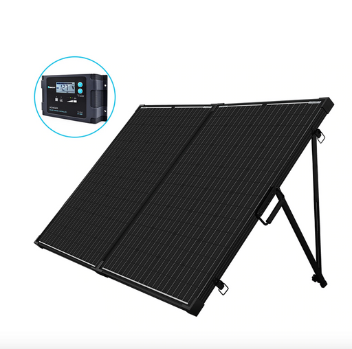 200 Watt 12 Volt Monocrystalline Foldable Solar Suitcase - Plug and Play Solar