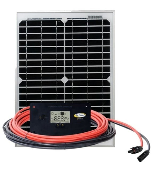 GO POWER! GP-ECO-20: 20 WATT / 1.2 AMP SOLAR KIT W. 10 AMP CONTROLLER - Plug and Play Solar