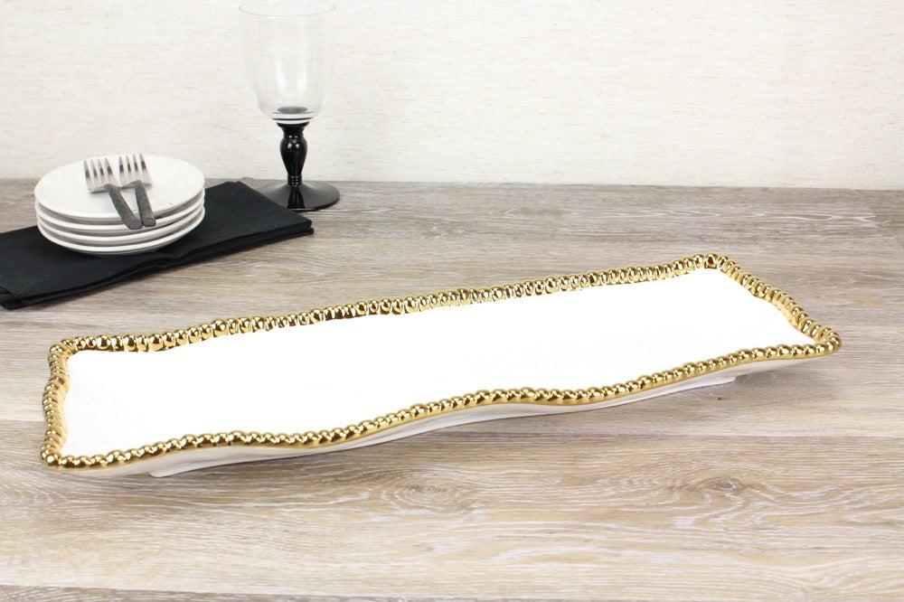 Long Tray with Gold Rim