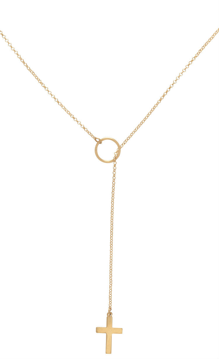Enewton Lariat Gold Inspire Small Cross Necklace