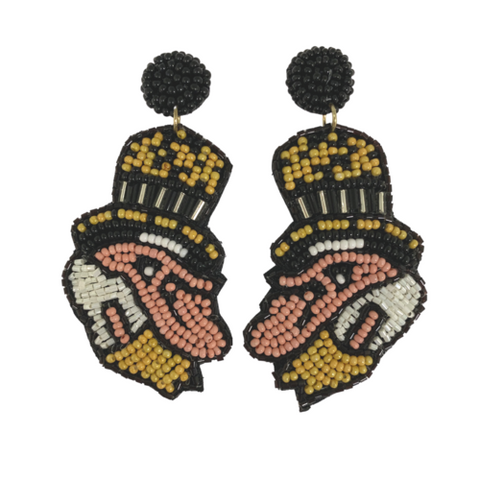 Wake Forest Deacon Hand Beaded Earring