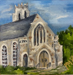 Hand-Painted Church Canvas