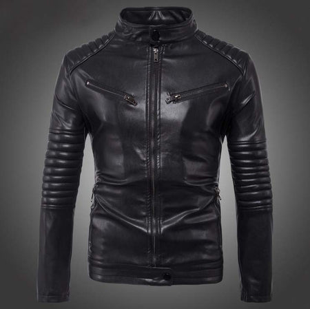 Dropshipping Leather Jacket Men Autumn Slim fit Faux leather jacket Motorcycle Bomber Leather Jackets Coats Big Size 5XL - Hot Or Not