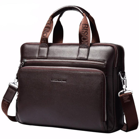 "BISON Genuine leather Briefcase Fits 14"" Laptop - Hot Or Not"