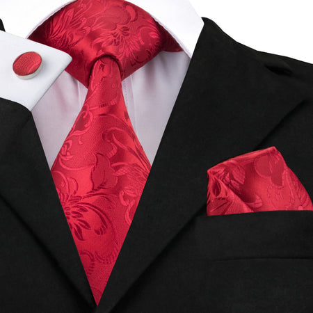Mens' Luxury Silk Tie Set - Red - Hot Or Not