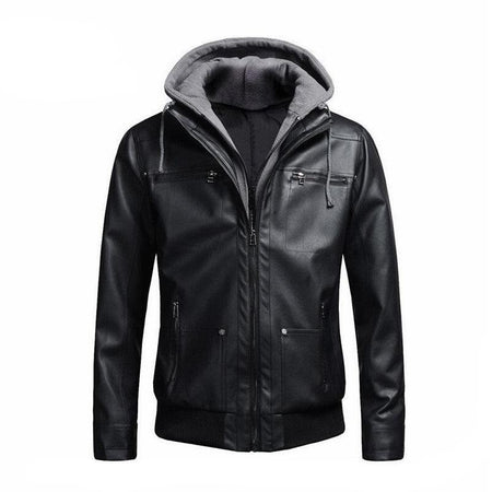 """European Size"" Hat Detachable Cotton Hooded Motorcycle Biker Men Black PU Leather Jacket and Coat Slim Fur Inside Jaqueta Couro - Hot Or Not"