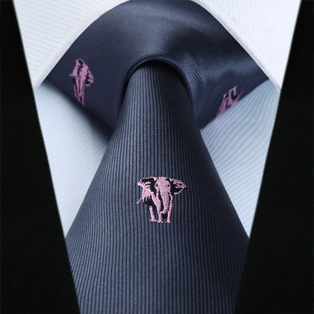 HISDERN Fashion Woven Mens Silk Tie Classic Animal Design - Hot Or Not