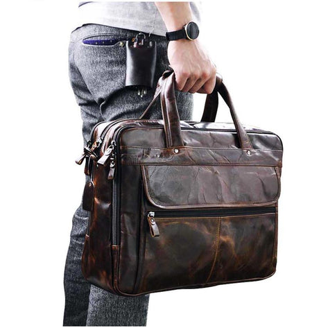 "Executive Heritage Style Briefcase / Travel Bag - Fits 15"" Laptop - Hot Or Not"