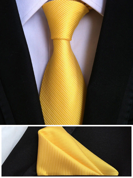 QXY mens fashion ties for men tie set pocket square solid yellow business dress polyester silk tie handkerchief necktie T049 - Hot Or Not